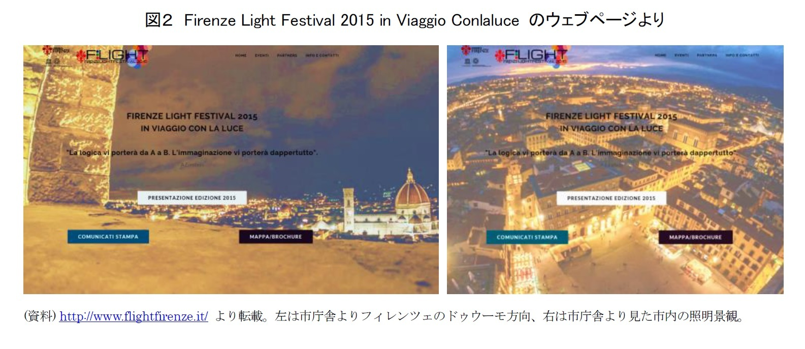図2 Firenze Light Festival 2015 in Viaggio Conlaluce のウェブページより