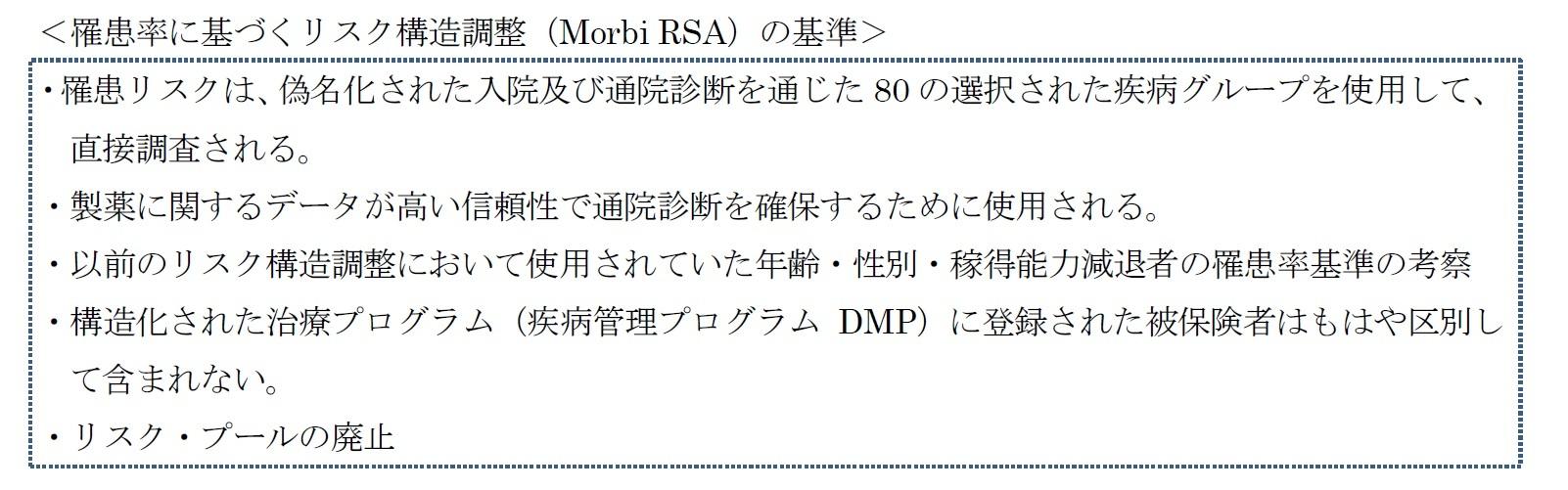 <罹患率に基づくリスク構造調整(Morbi RSA)の基準>