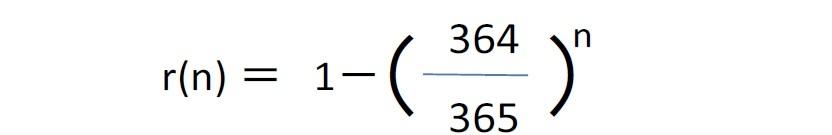 n人の部屋に特定の人と同じ誕生日の人がいる確率 r(n)