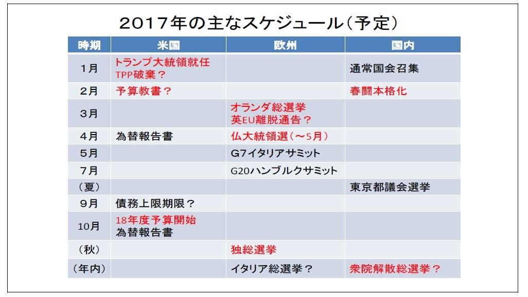 2017年の主なスケジュール(予定)