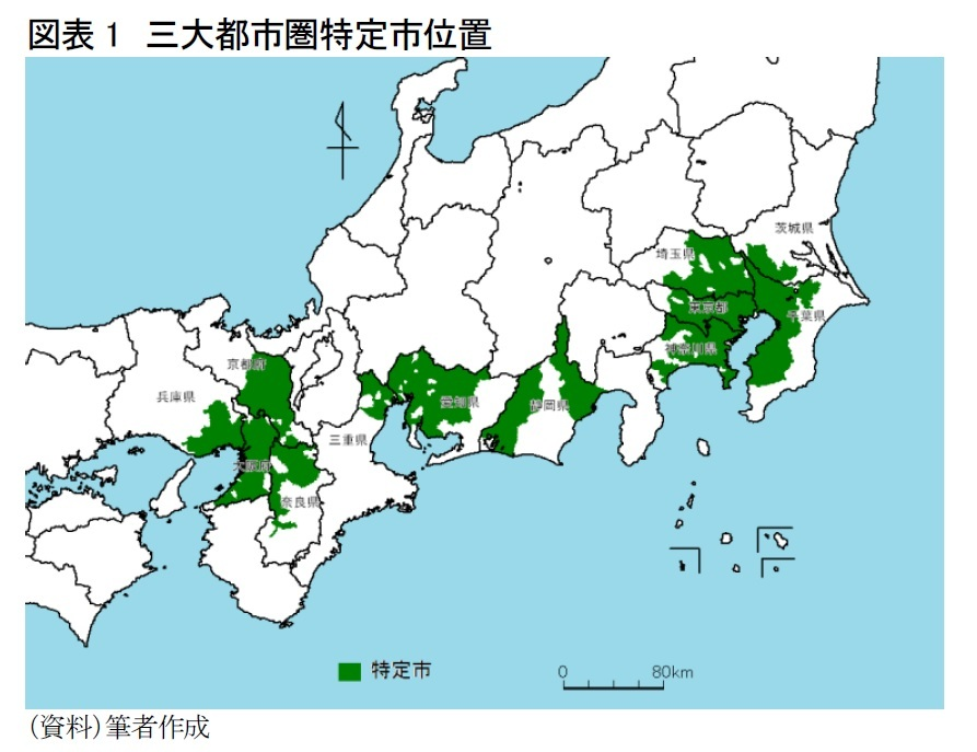 図表1 三大都市圏特定市位置