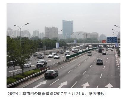 (資料)北京市内の幹線道路(2017年6月24日、筆者撮影)