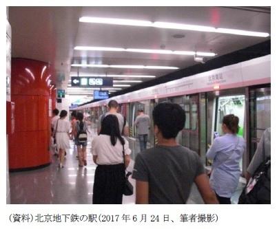 (資料)北京地下鉄の駅(2017年6月24日、筆者撮影)