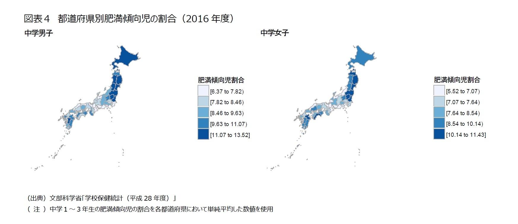 図表4 都道府県別肥満傾向児の割合(2016年度)
