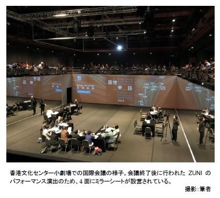 香港文化センター小劇場での国際会議の様子。会議終了後に行われたZUNIのパフォーマンス演出のため、4面にミラーシートが設営されている。