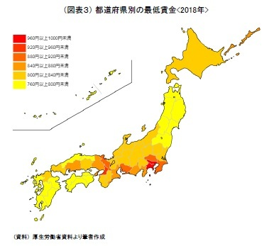(図表3) 都道府県別の最低賃金