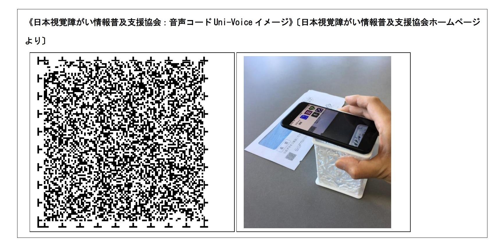 日本視覚障がい情報普及支援協会:音声コードUni-Voice イメージ