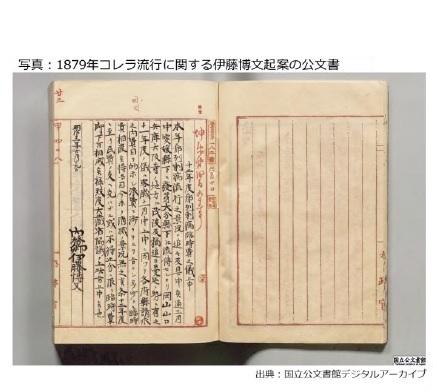 写真:1879年コレラ流行に関する伊藤博文起案の公文書