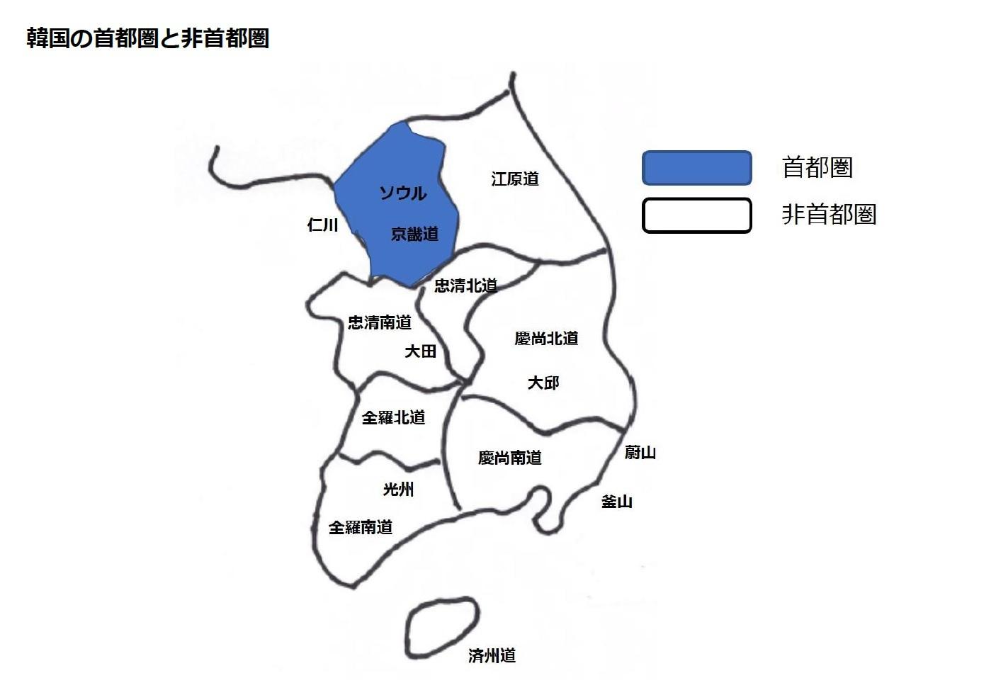 韓国の首都圏と非首都圏