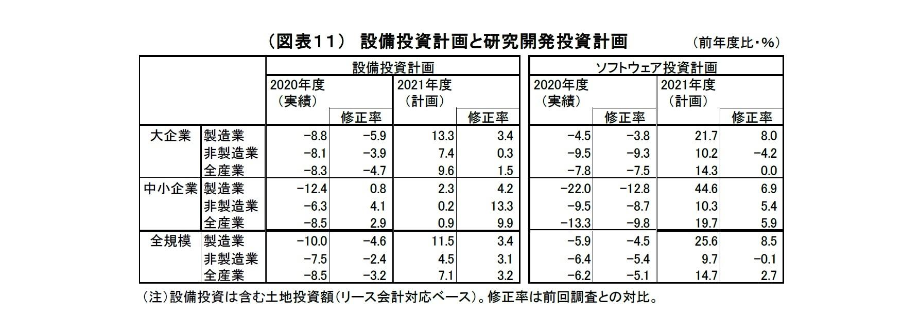 (図表11) 設備投資計画と研究開発投資計画