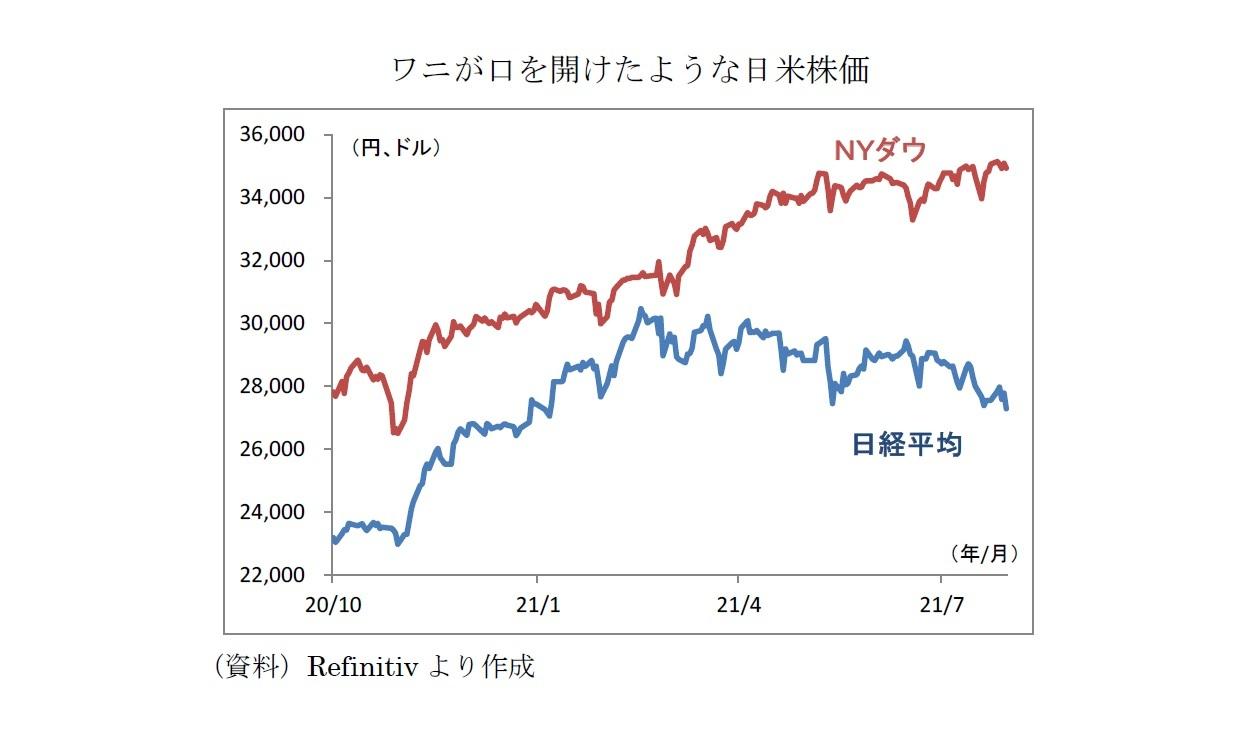 ワニが口を開けたような日米株価