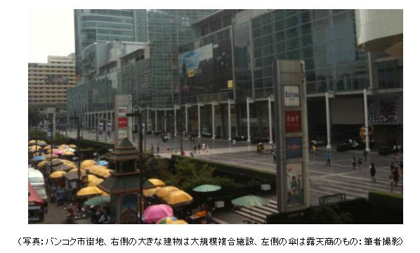 バンコク市街地、右側の大きな建物は大規模複合施設、左側の傘は露天商のもの